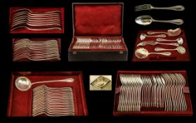 French Silversmith Adolphe Boulenger Paris 1850 - 1899 Delux ( 83 ) Piece Solid Silver Part