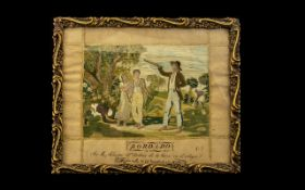 19thC Spanish Pictorial Needlework Sampler Embroidered With Silk, Depicting Figures,