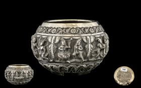 Large 19thC Anglo Indian Unmarked Silver Jardiniere with continuous raised well defined Deity