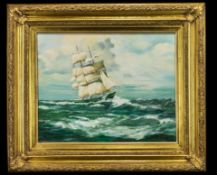 Large Oil Painting of a Sailing Ship in an ornate gilt frame, signed to bottom left T Crawford.