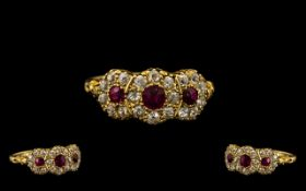 Edwardian Period Well Made and Attractive 18ct Gold Ruby and Diamond Set Dress Ring of pleasing