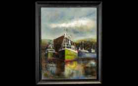 Oil Painting by Hadrian Richards 'The Harbour' signed to bottom left hand side. Framed in
