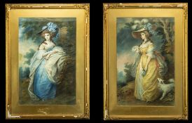 A Pair of Gainsborough Framed Prints After the Original 'Lady Sheffield' plus one other.