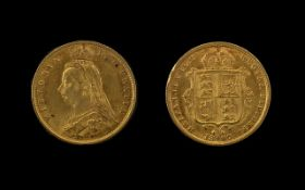 Queen Victoria Jubilee Head - Shield Back 22ct Gold Half Sovereign. Date 1887. London mint.