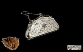 Early 20 th Century Sterling Silver Ladies Purse, Two Art Containing Nouveau Silver Buttons.
