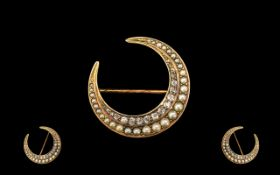 Antique Period Fine Quality 15ct Gold Crescent Moon Brooch set with seed pearls and diamonds.