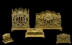 Art Nouveau Period Nice Quality Set of Ornate Brass Desk Stationery Holders ( 3 ) Pieces.