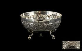 A Fine Quality - Early 20th Century Silver Footed Bowl on Circular Form, Raised on 3 Stylished