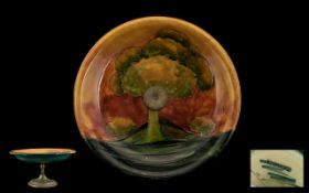 William Moorcroft Signed Flambe & Pewter Pedestal Bowl. 'Eventide' design circa 1930.