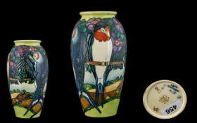 Moorcroft - Modern Impressive Tubelined Ltd and Numbered Edition Vase of Ovoid Shape ' Swallows '