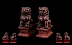 A Pair of Temple Dogs / Dogs of Foe. 4.5 Inches High.