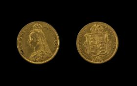 Queen Victoria Jubilee Head - Shield Back 22ct Gold Half Sovereign. Date 1887. London mint. E.F.
