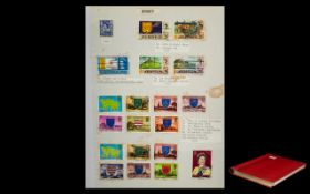 Red Photograph Style Album Full of Strange Stamps, Includes Cinderellas, Regional's,