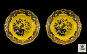 Masons Ironstone Fine Pair of Hand Painted Cabinet Plates,