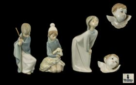 A Small Collection of Lladro Porcelain Figures ( 4 ) In Total. Comprises 1/ Girl with Nightdress. 7.
