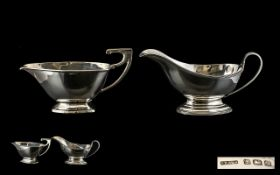 George VI Nice Quality Pair of Silver Sauce Boats ( 2 ) Hallmarks for Birmingham 1945, Makers S.W.