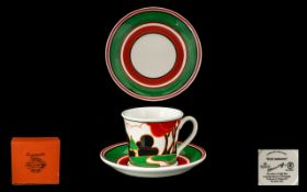 Clarice Cliff Limited Edition 'Red Autumn' Cafe Noir Coffee Cup & Saucer by Wedgwood.