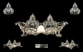 Mid Victorian Superb Quality Ornate Silver Ink Stand - Complete with a Pair of Silver Topped Cut