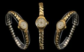 Laddies 9ct Gold Cased Watch.