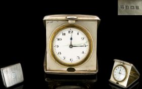 1920's Silver Case - Folding Pocket Size Travellers Clock with Push Button to Open,