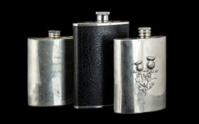 A Collection of Three Hip Flasks comprising Edwin Blyde Celtic Collection pewter hip flask with