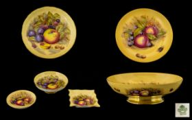 Aynsley Large Hand Painted and Signed ' Fruits ' Footed Bowl, Signed D.