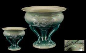Shelley 1920s signed Walter Slater Lustre Tripod Pedestal Fishes Bowl. Number to base 8306.