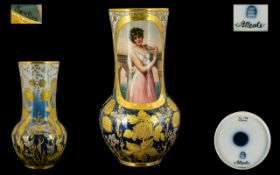 Royal Vienna Porcelain Factory Superb Quality Signed Hand painted Vase.