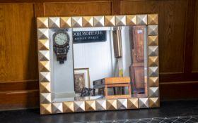 "Large Contemporary Framed Mirror. Gilt framed bevelled edge mirror. Width 38"", Height 30""."