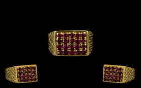 18ct Gold Superb Quality Ruby Set Dress Ring of Solid Construction.