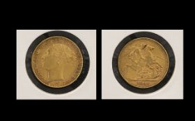 Queen Victoria Young Head 22ct Gold Full Sovereign - Date 1885. Melbourne Mint, Condition V.F.