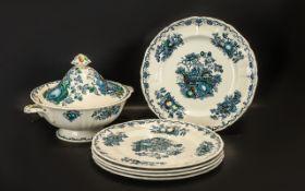 Mason's Ironstone ' Fruit Basket ' Tureen and Five Dinner Plates,