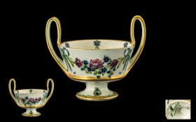 William Moorcroft Signed James Macintyre Twin Handled Footed Bowl/Vase rose garland swags and