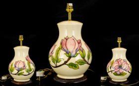 Moorcroft - Globular Shaped Large Tube lined Lamp Base ' Pink Magnolia ' on Cream Ground.