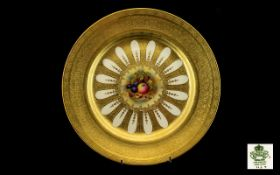 Aynsley - Superb Quality 24ct Acid Gold Baroque Cabinet Plate,