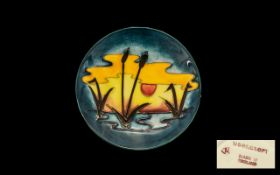 Moorcroft Modern Tubelined Round Pin Dish ' Reeds In The Sunset ' Design.