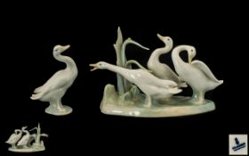 Lladro Porcelain Bird Group ' Geese Group ' Model No 4549. Issued 1969 - 1996.