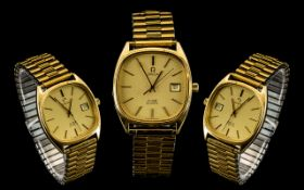 Omega De-Ville Classic Design Gents Quartz Date-Just Gold Plated Wrist Watch with Expanding Gold