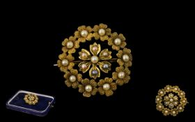 Antique Period 15ct Gold Superb Quality Small Brooch set with Seed Pearls.