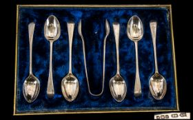 Boxed Set Of Six Silver Spoons Together With Matching Sugar Nips, Silk Lined Fitted Case,