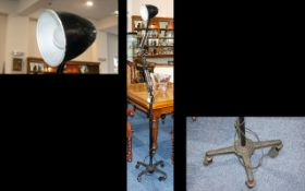 Industrial Black Floor Standing Anglepoise Lamp In Black Factory Finish. c.1940's.