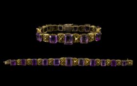 Victorian Period Superb Quality 9ct Gold - Amethyst Set Ornate / Fancy Bracelet,