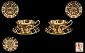 Royal Crown Derby Old Imari Pattern Single Gold Band 22ct Gold Pair of Large Cups and Saucers.