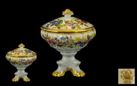 Hammersley - Early Fine Bone Chain Hand Painted Lidded Comport ' Queen Anne ' Pattern, Gold Borders.