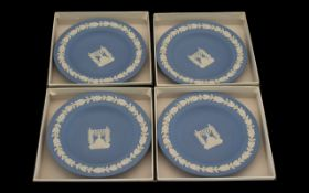 A Collection of Four Wedgwood Menorah Round Tray. All pale blue and in original boxes.