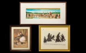 Collection of Three Paintings to include a limited edition Lowry Print 3rd copy of 8,