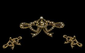 Victorian Period - Attractive 18ct Gold Sweetheart Brooch Set with Seed Pearls,