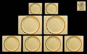 Clarice Cliff Art Deco 1930's Royal Staffordshire Collection of ( 7 ) Seven Biarritz - Hand Painted