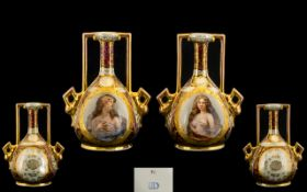 Vienna - Late 19th Century Pair of Hand Painted Vases Decorated with Painted Female Images within