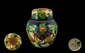 Moorcroft Contemporary Lidded Ginger Jar of small proportions, Anna Lily design.